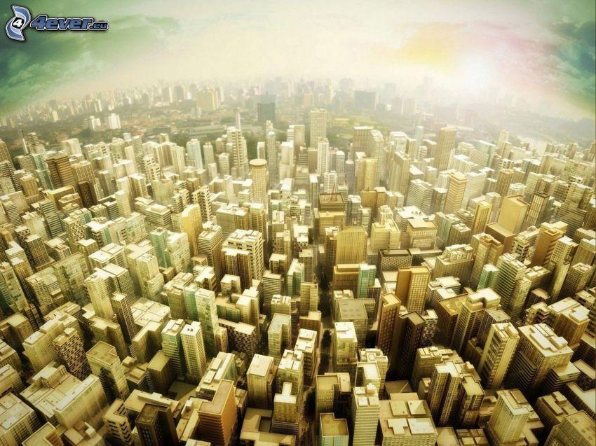 felhőkarcolók, kilátás a városra