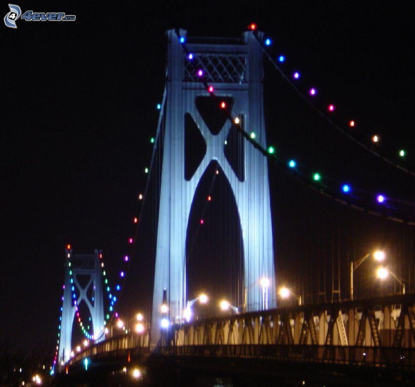 Mid-Hudson Bridge, kivilágított híd, éjszaka