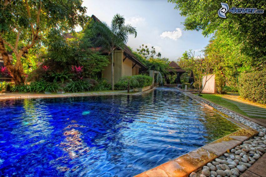 medence, ház, HDR