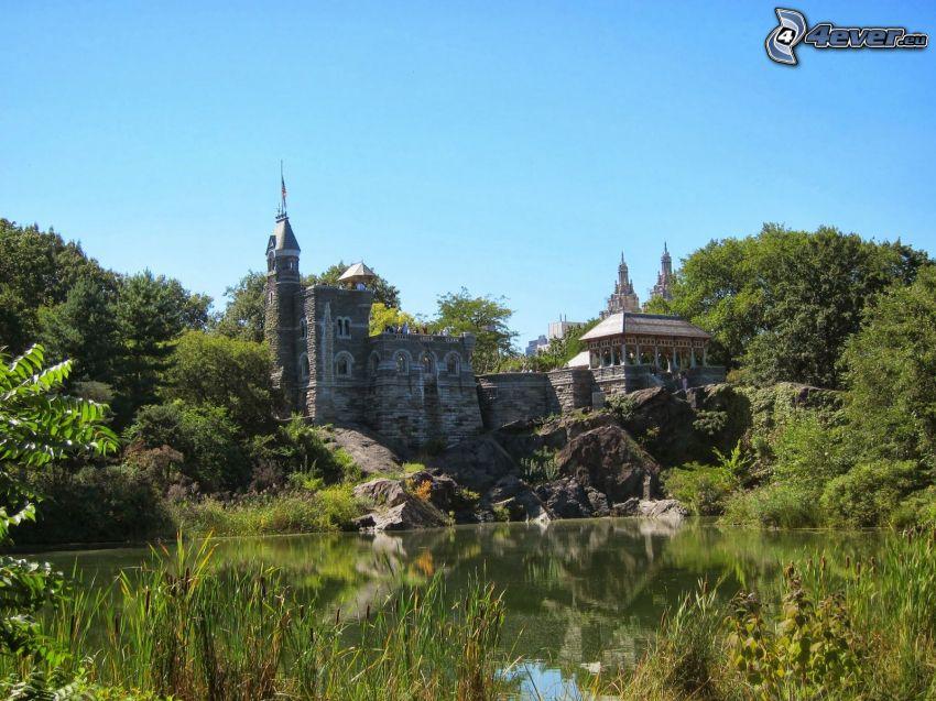 Belvedere kastély, szikla, tó