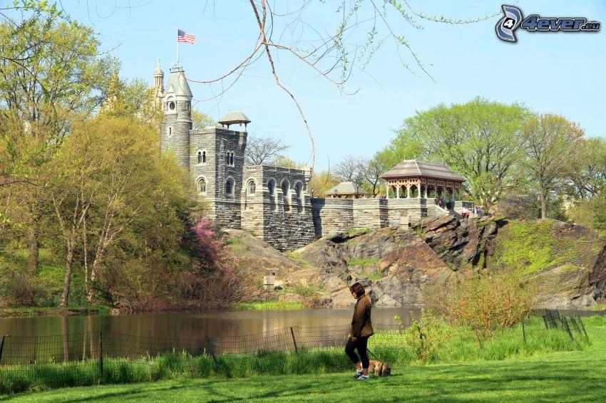 Belvedere kastély, turista, szikla, tó