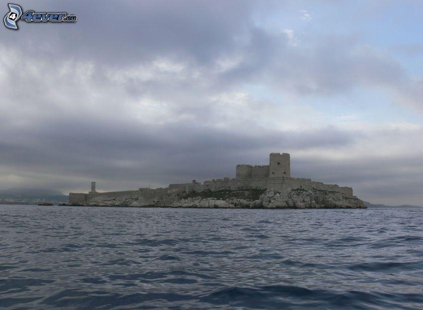 Château d'If, sziget, tenger, felhők