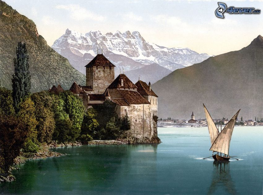 Chillon kastély, hajók, folyó, hegyvonulat