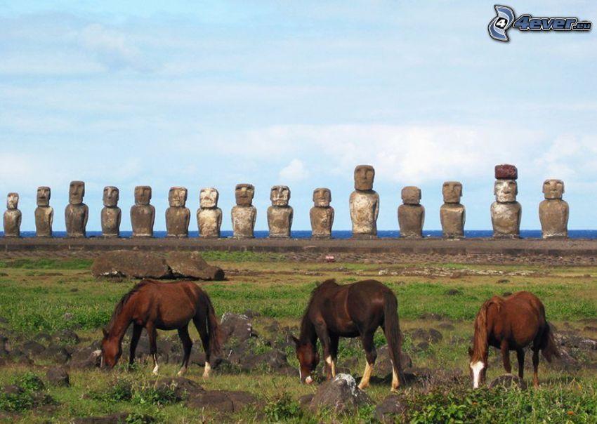 húsvét-szigetek, Moai szobrok, barna lovak