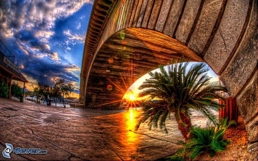 napnyugta, öreg híd, HDR