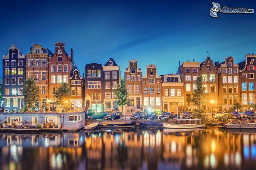 Amsterdam, házak, esti város, kikötő