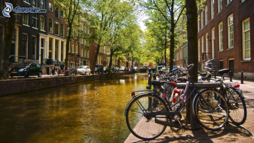 csatorna, kerékpárok, Amsterdam