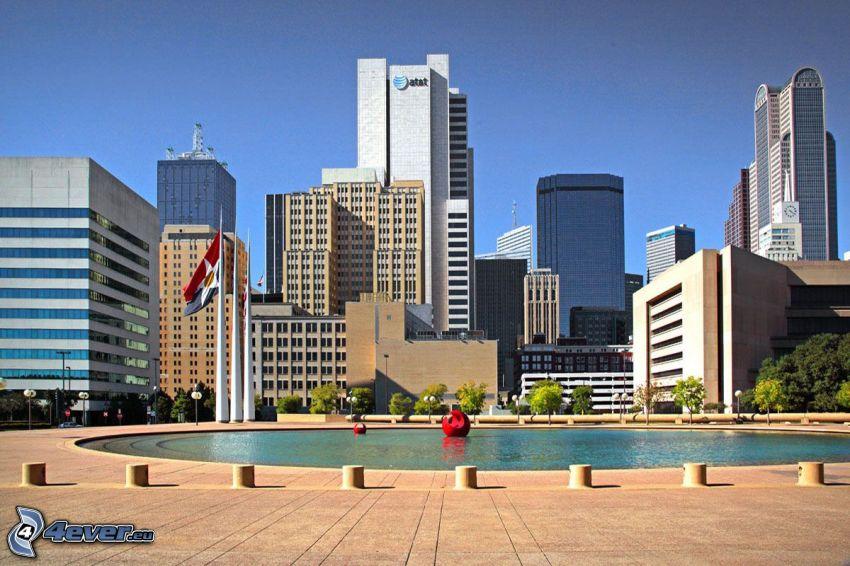 Dallas, felhőkarcolók, szökőkút