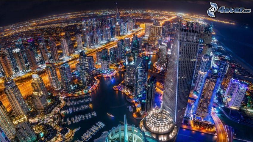 Dubaj, éjszakai város, HDR