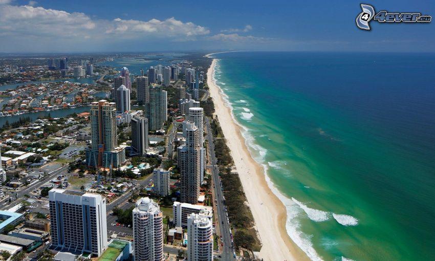 Gold Coast, tengerpart, felhőkarcolók