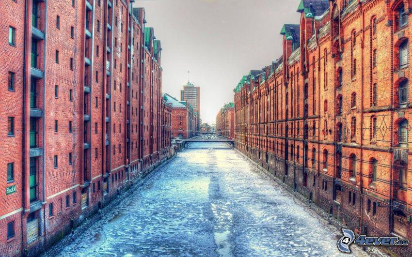 Hamburg, Németország, épületek, folyó, HDR