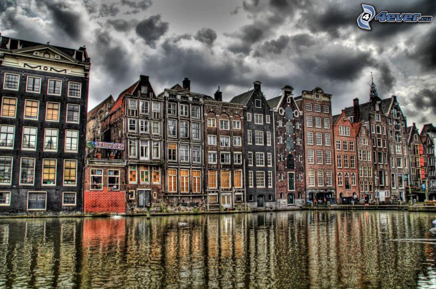 házak, csatorna, Amsterdam