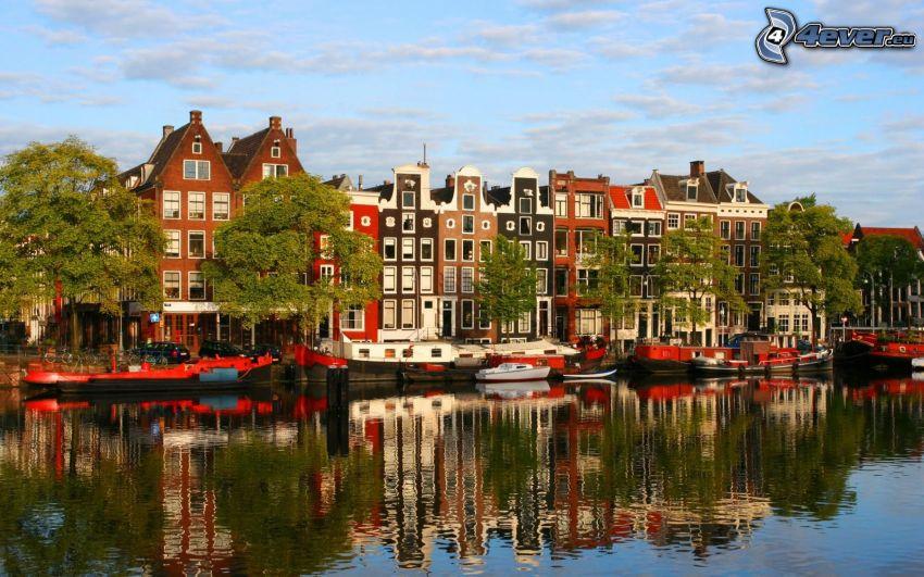 házak, csatorna, visszatükröződés, hajók, Amsterdam