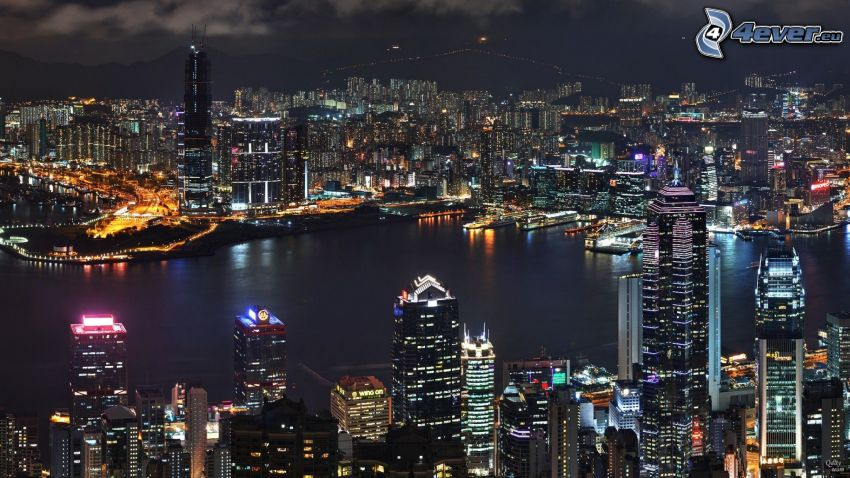 Hong Kong, éjszakai város