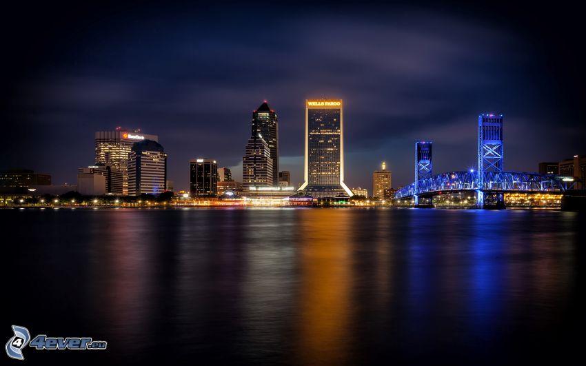 Jacksonville, éjszakai város, kivilágított híd