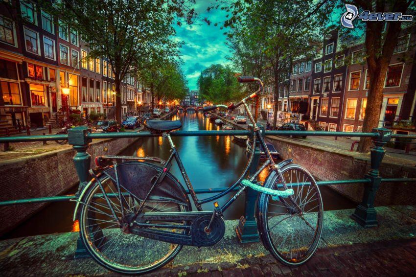 kerékpár, csatorna, esti város, Amsterdam