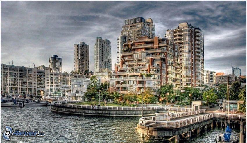 kikötő, folyó, házak, HDR