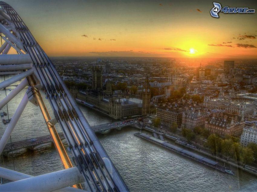 London, Temze, kilátás a városra, naplemente a város felett, HDR, Westminster-palota