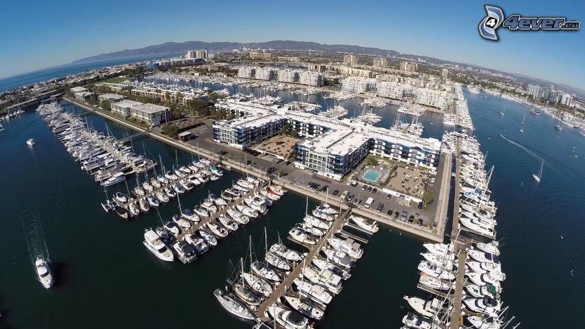 Marina Del Rey, kikötő, hajók, tenger, Kalifornia