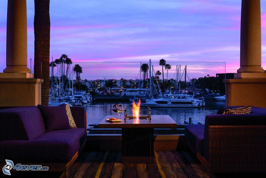 Marina Del Rey, kikötő, terasz, kanapé, este, Kalifornia