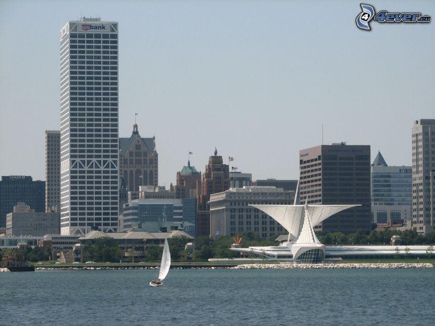 Milwaukee, tenger, felhőkarcolók