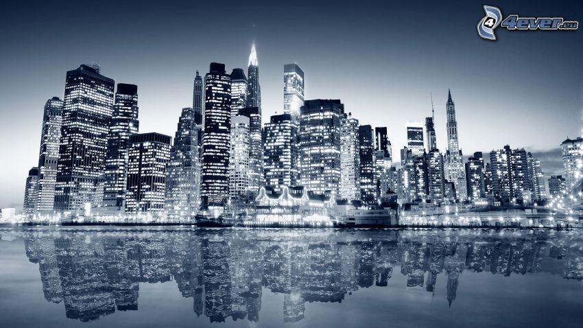 New York, felhőkarcolók, éjszakai város