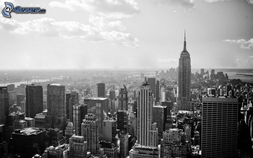 New York, felhőkarcolók, fekete-fehér