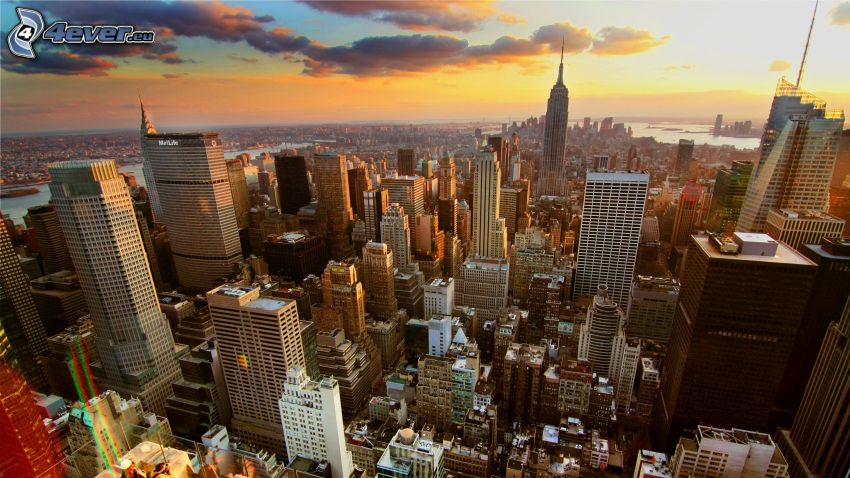 New York, kilátás a városra, este