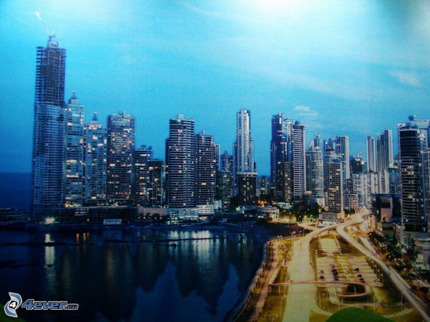 Panama, éjszakai város, tengerpart