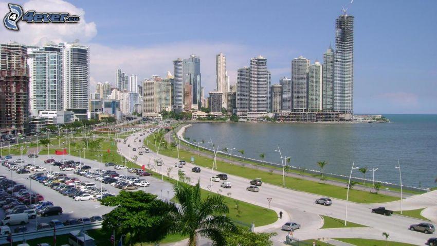 Panama, tengerpart, út, felhőkarcolók