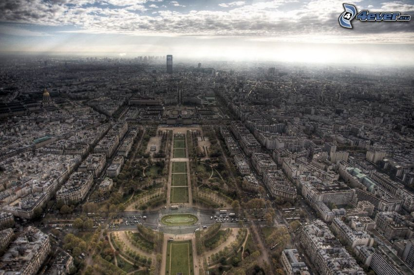 Párizs, kilátás a városra, park, HDR