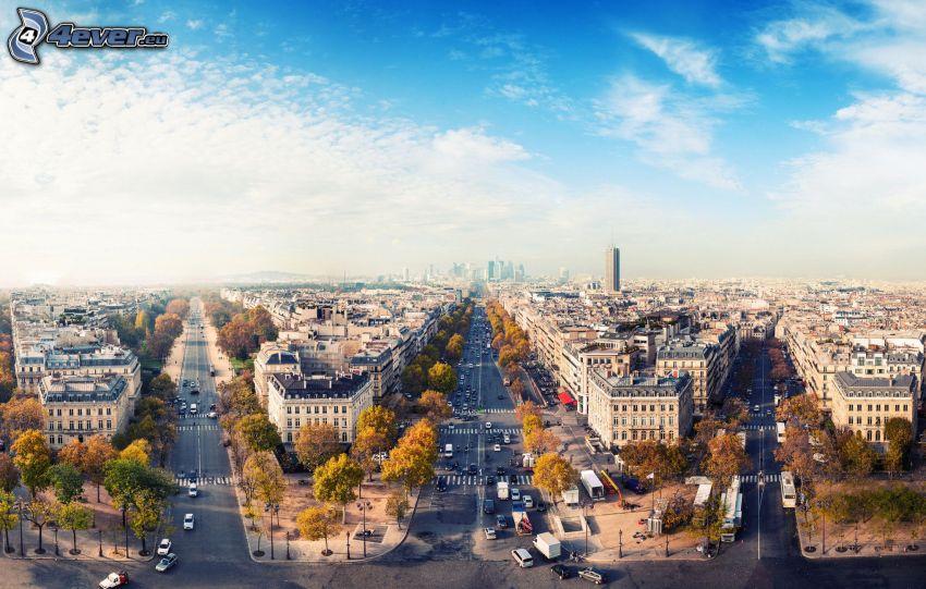 Párizs, kilátás a városra, utcák, La Défense