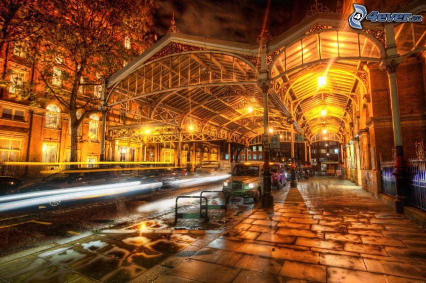 utca, járda, éjszakai város, London, HDR