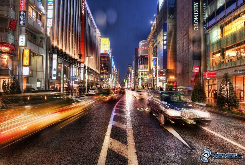utca, út, este, autók, HDR