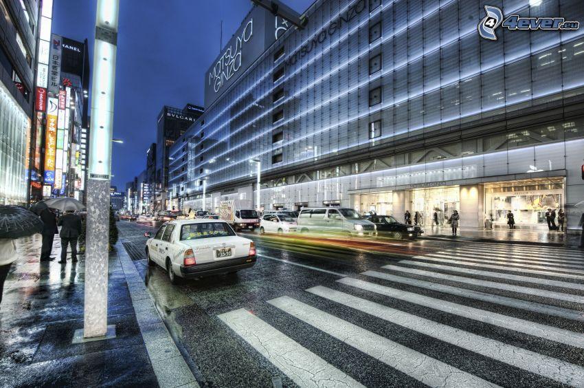utca, zebra, autók, HDR