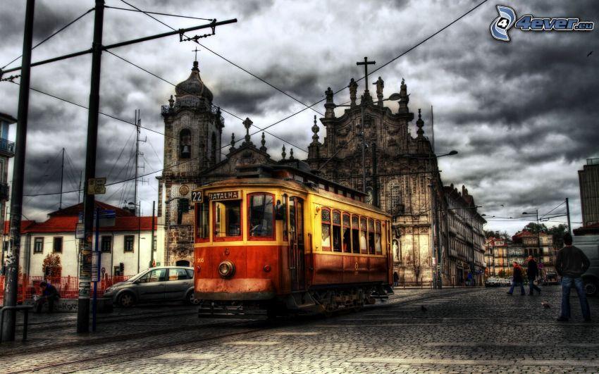 villamos, város, templom, HDR