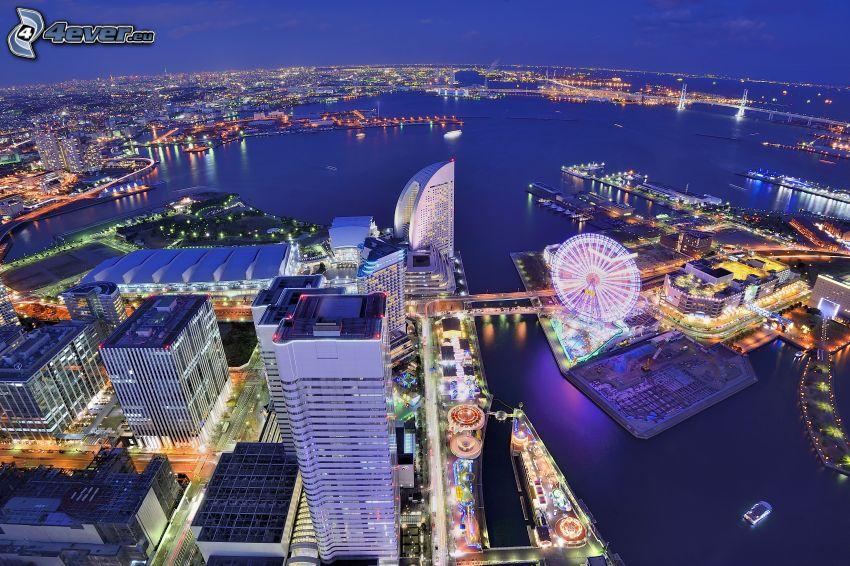Yokohama, Japán, éjszaka, HDR