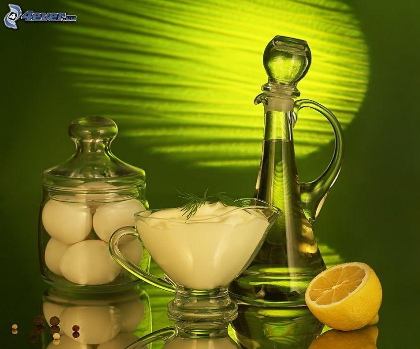 csendélet, citrom, tejszín, tojások, olaj, bors