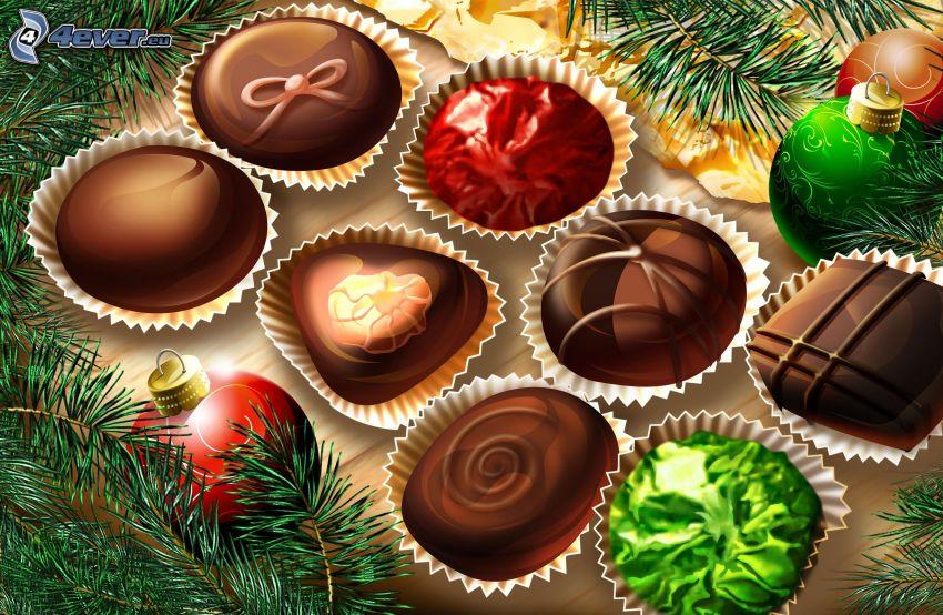 csokoládé praliné, karácsonyi gömbdíszek, tűlevelű ág