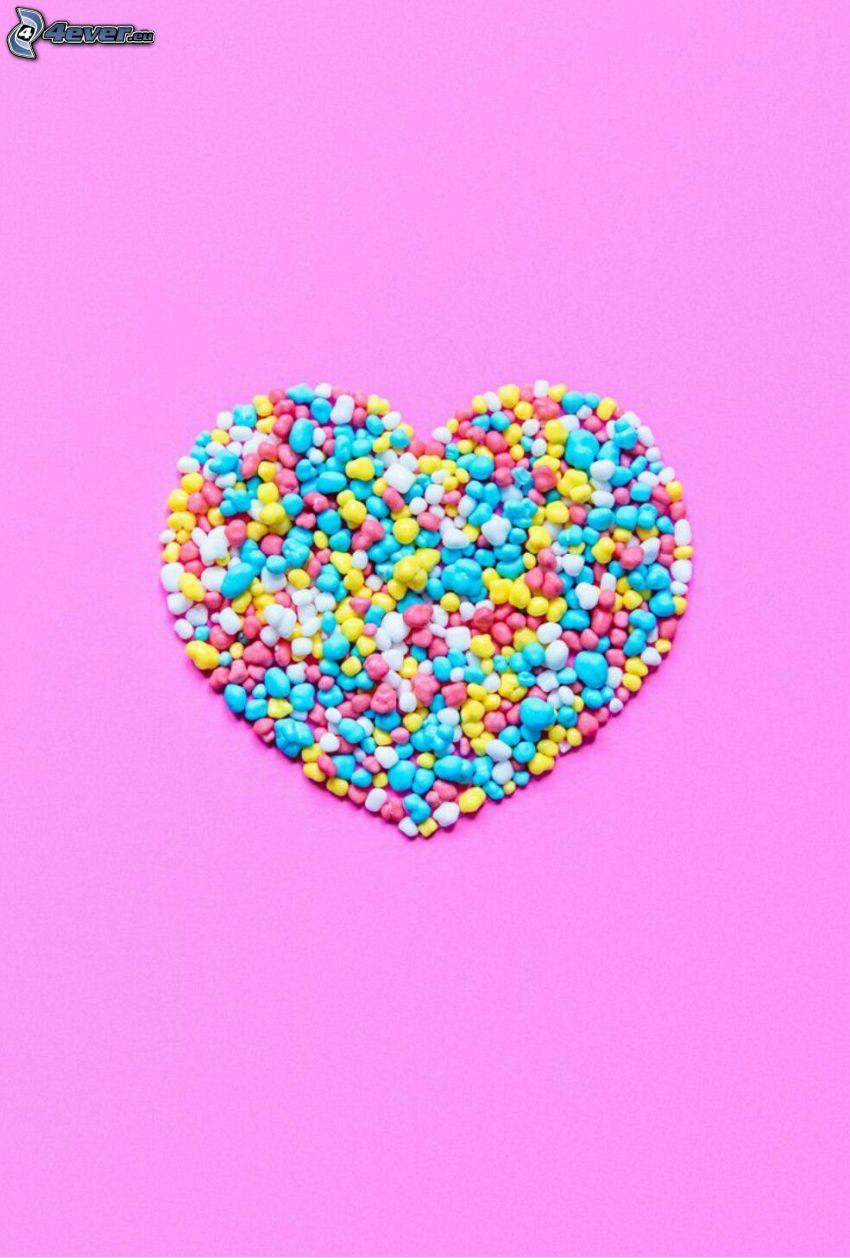 cukorkák, szivecske, rózsaszín háttér