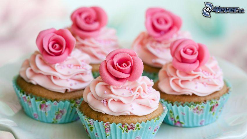 cupcakes, rózsaszín rózsák