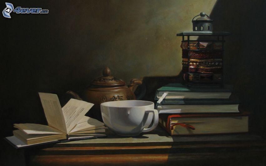 teáskanna, egy csésze tea, könyvek, lámpás
