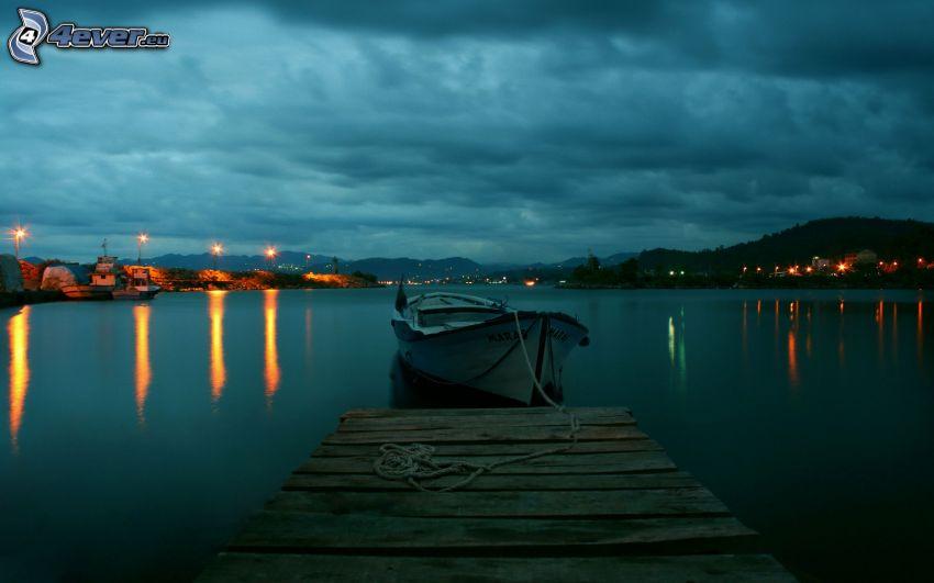 csónak, móló, tenger, hegyvonulat
