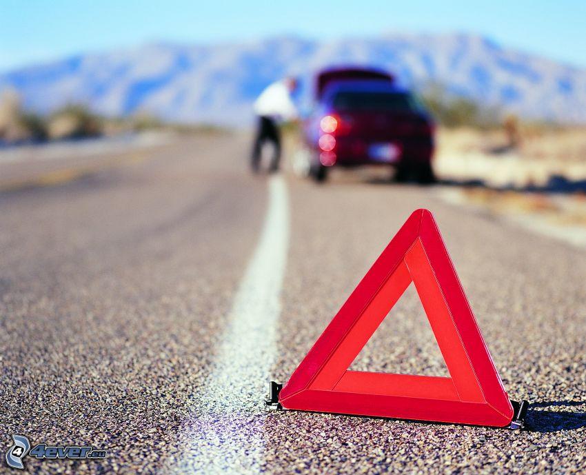 háromszög, baleset, defekt, autó