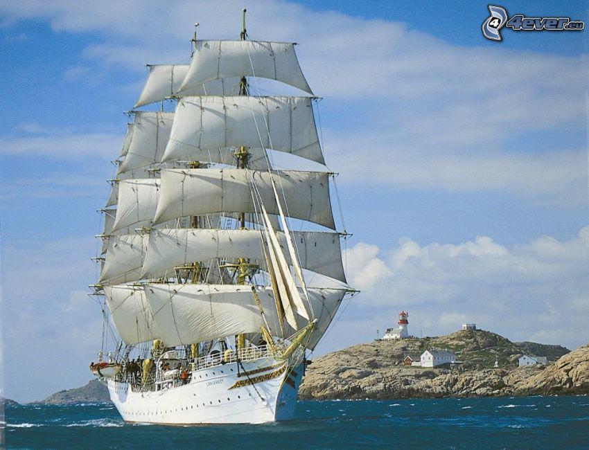 Sørlandet, vitorláshajó, tengerpart