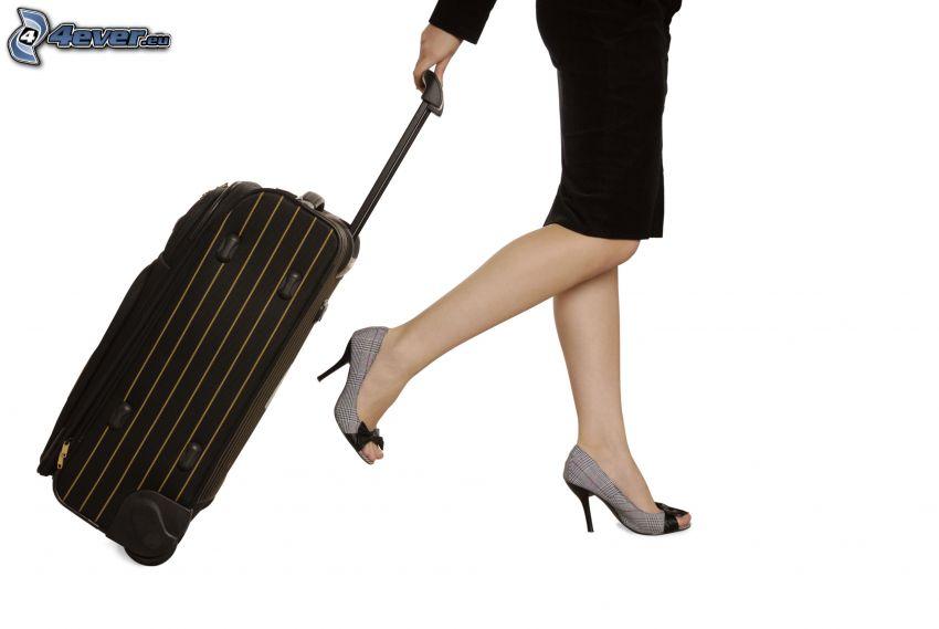 utazás, koffer, nő, magassarkú