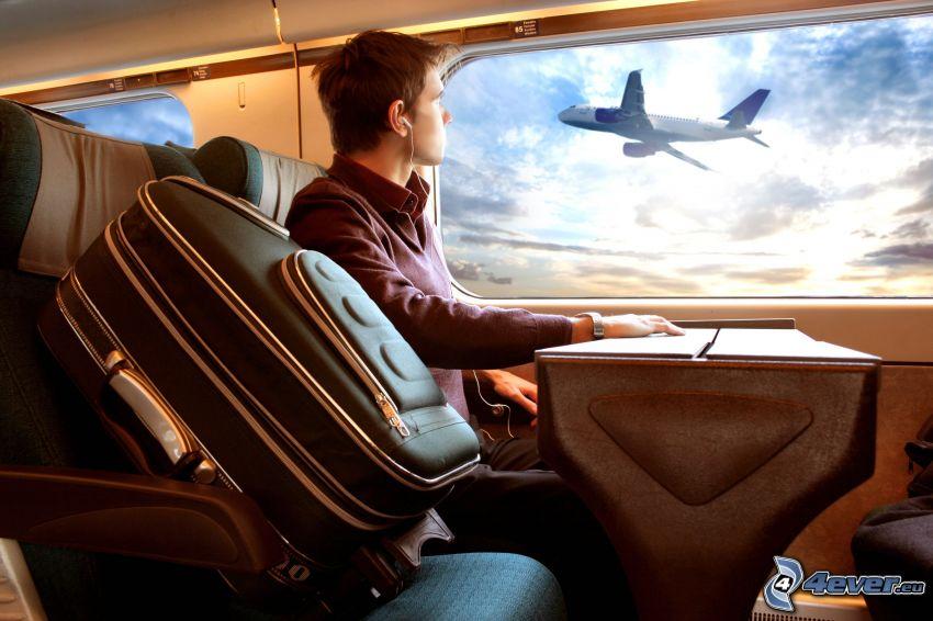 utazás, repülőgép, vonat, koffer