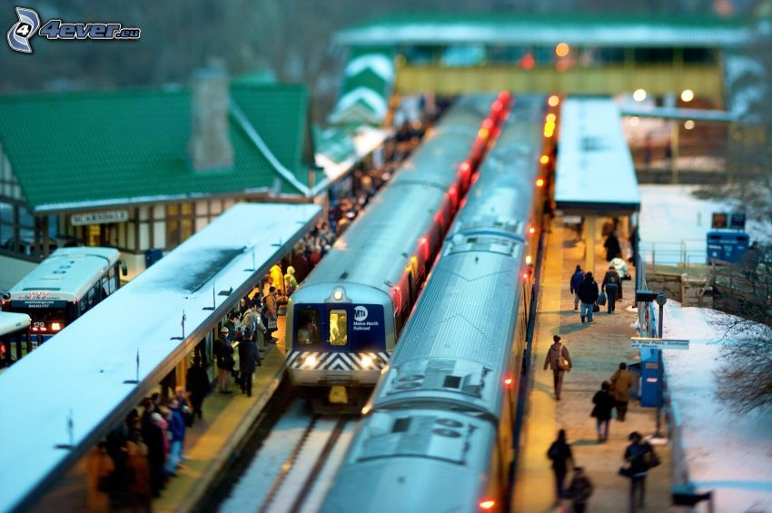 vasútállomás, vonatok, diorama