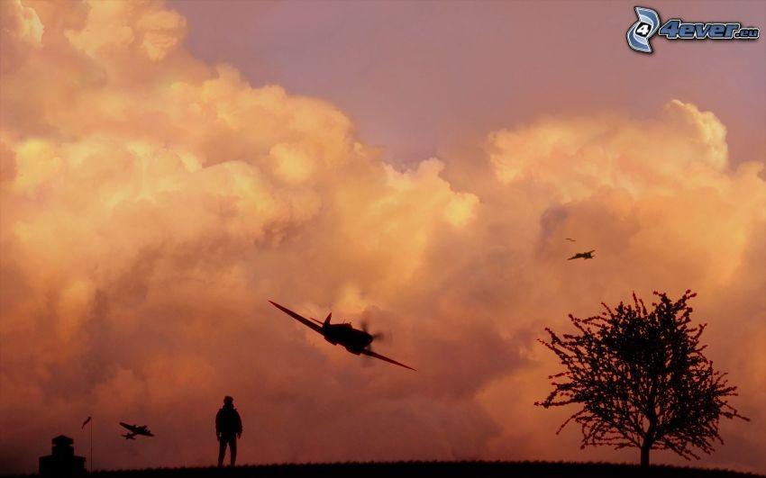 repülőgépek, fa sziluettje, felhők
