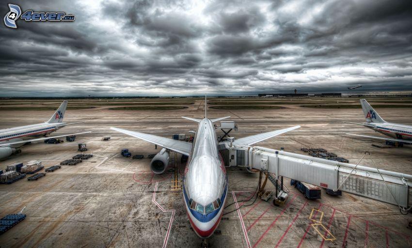repülőgép, repülőtér, felhők, HDR
